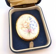 Vintage Boxed Aynsley Floral Design China Brooch.